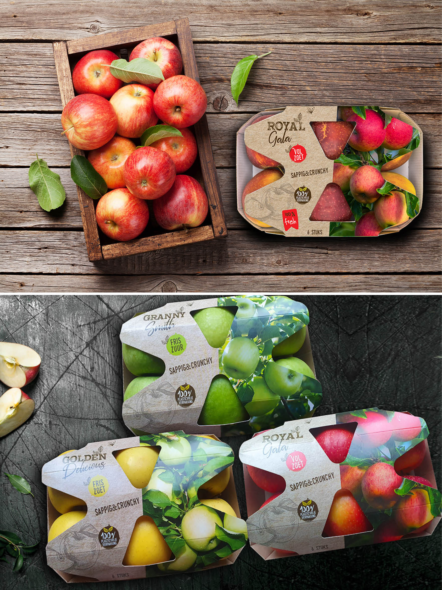 Verpakking ontwerp sleeves appelen